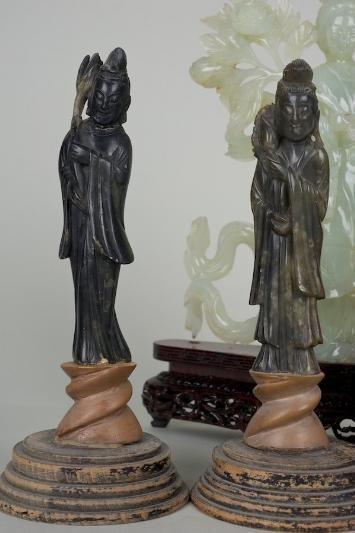 25: (4) antique hardstone Guanyin figures incl. ex coll - 3