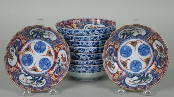 26: Set (9) antique Japanese Imari porcelain bowls
