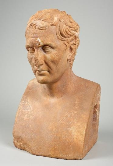 164: Life-size Roman style carved marble bust of Meande
