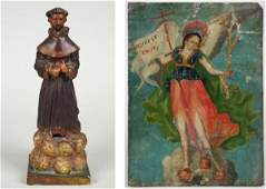 186 Antique Spanish Colonial Retablo and Santo figure