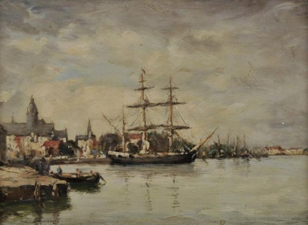 428: Painting attr. to Eugene Boudin (1824-1898, French