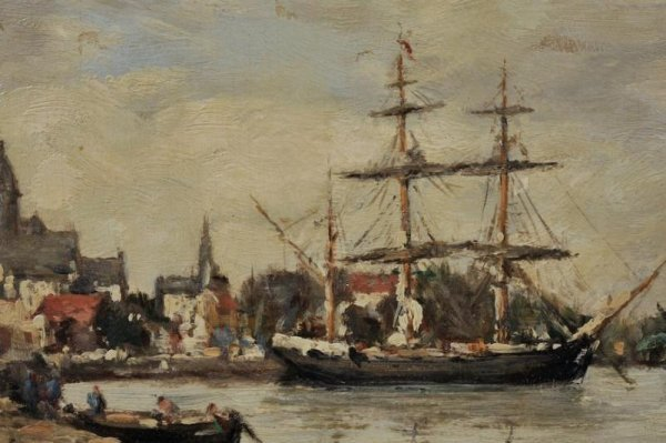 428: Painting attr. to Eugene Boudin (1824-1898, French - 3