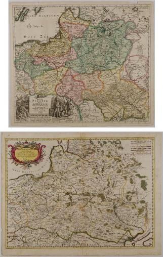 581: (2) antique hand-colored maps: Poland, Ukraine, et