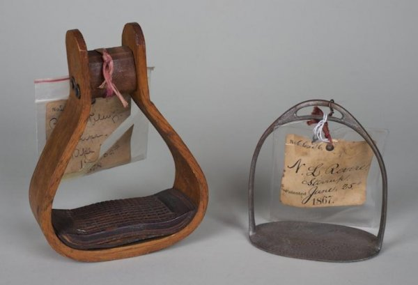 589: (2) antique U.S. patent models: stirrups