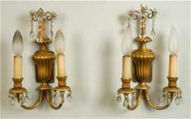 853 Pair George III style gilt bronze wall sconces