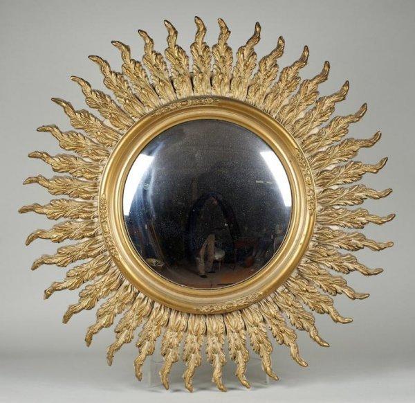 986: Louis XVI style giltwood convex sunburst wall mirr