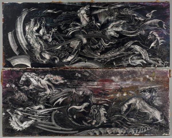 990: Pair paintings attr. to Robert Beauchamp (1923-199