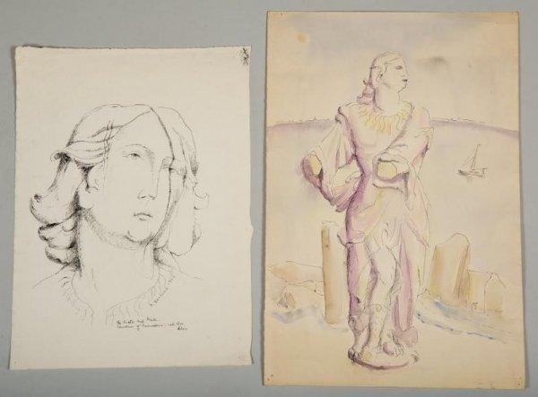 996: (2) drawings by Helene Sardeau (1899-1969, America