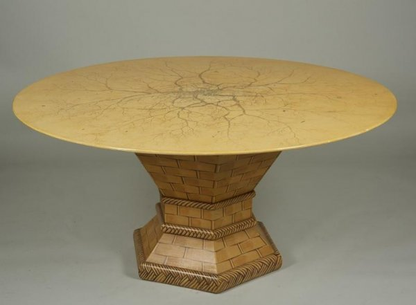 1005: Custom hand-painted Trompe L'Oeil dining table