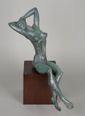 Green Patinated Bronze In The Manner Of Archipenk