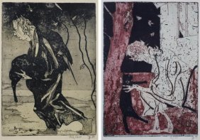 (2) Signed Etchings By Horst Janssen (1929-1995,