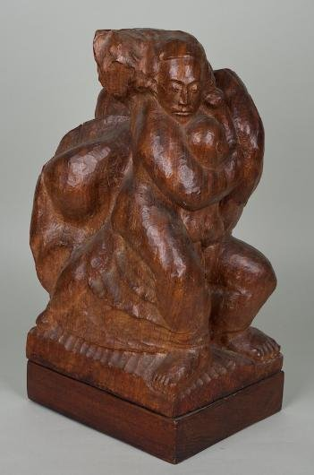 1179: Illegibly signed wood sculpture manner of Chaim G