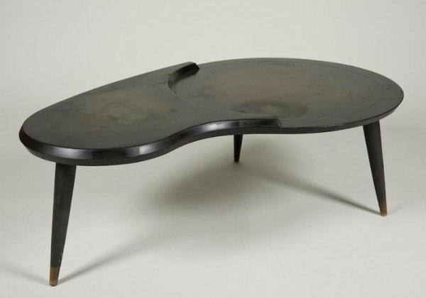 1187: Mid-Century brass mounted coffee table manner of