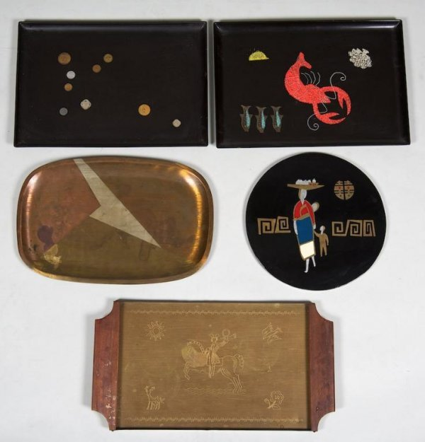 1190: (5) Mid-Century inlaid lacquer and brass serving