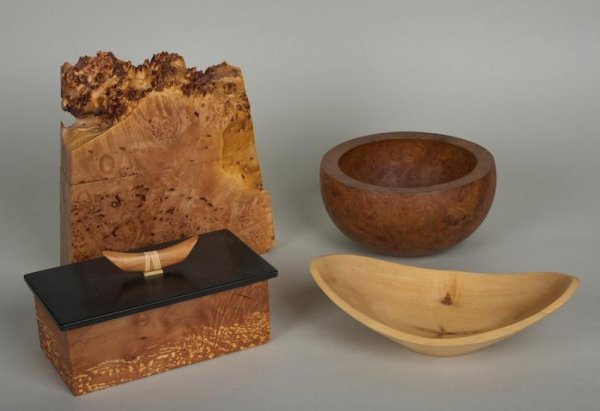 1198: (4) wood table accessories by Michael Elkan and o