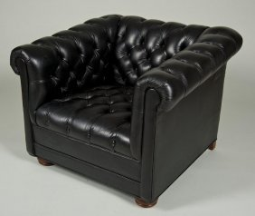 Black Button-tufted Leather Chesterfield Club Cha