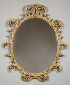 Nice Italian Cream Painted Palm Frond Mirror