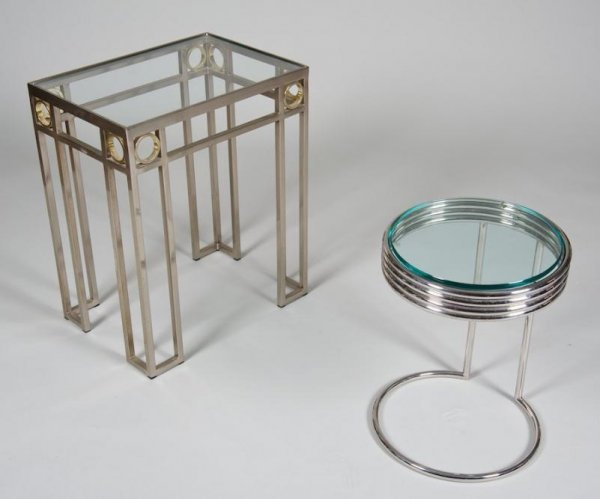 1226: (2) chrome plated side tables manner of Eileen Gr