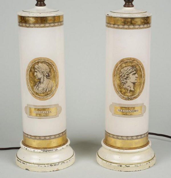1237: Pair Italian eglomise lamps, manner of Fornasetti