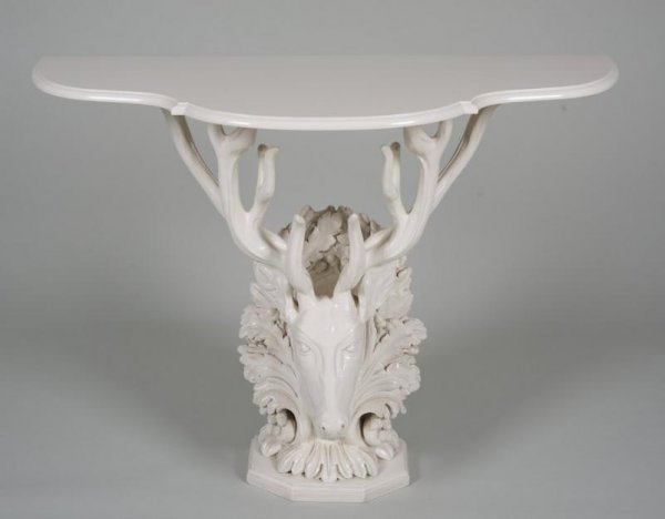 1239: Decorator white lacquered wood stag console table