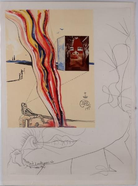 1245: Signed etching and collage by Salvador Dali