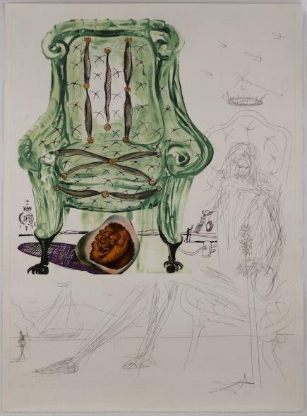 1246: Signed etching and collage by Salvador Dali