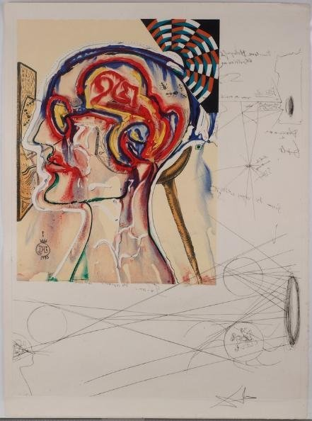 1247: Signed etching and collage by Salvador Dali