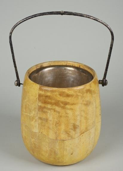 1251: Lacquered goatskin ice bucket attrib. to Aldo Tur