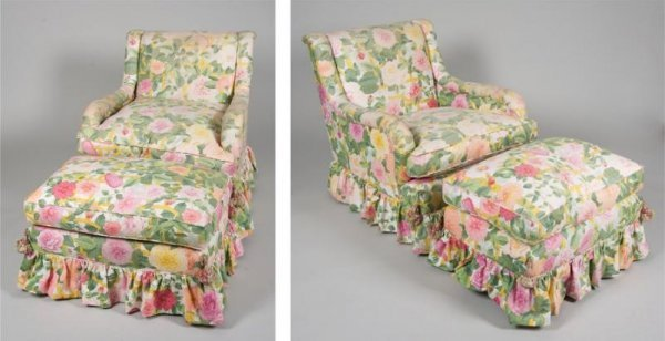 1261: Pair decorator chintz upholstered club chairs and