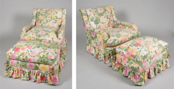 1264: Pair decorator chintz upholstered club chairs and