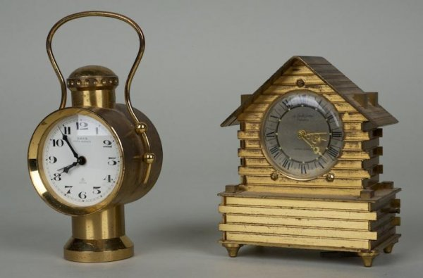 1265: (2) Saks and Helveco gilt bronze novelty clocks