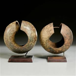 Mbole Peoples, (2) large bronze currency cuffs