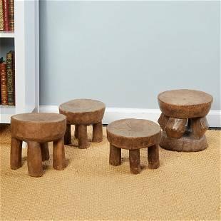 Senufo Peoples, (4) small wood stools