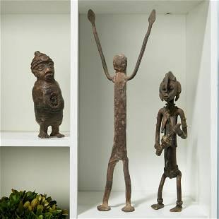 Group (3) African metalwork sculptures