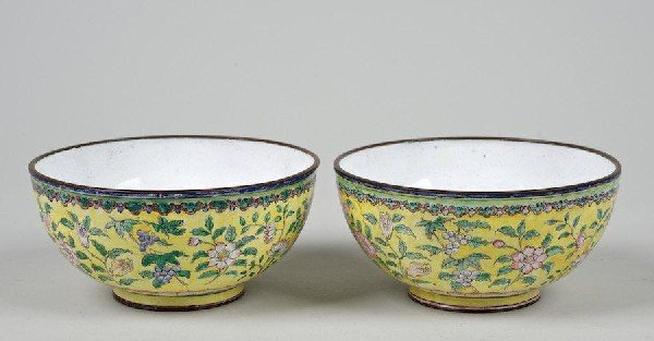 2002: Pair antique Chinese yellow ground Canton enamel