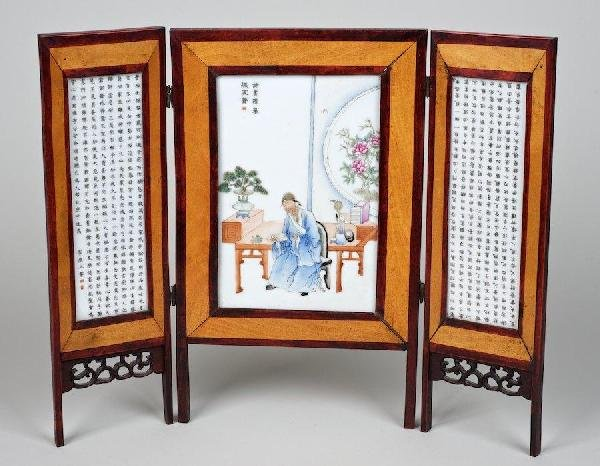 2005: Antique Chinese porcelain scholar's table screen