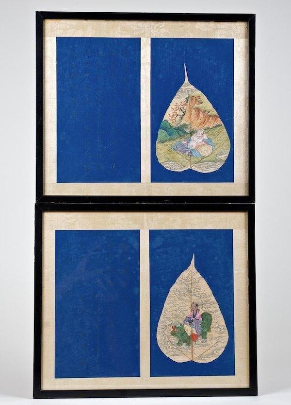 2007: Pair antique Chinese manuscript tree leaf paintin