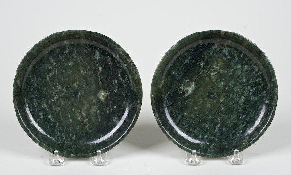 2009: Pair antique Chinese spinach jade dishes