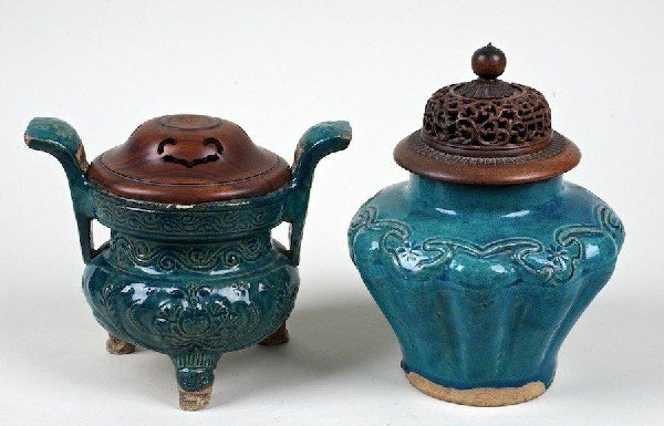2012: Antique Chinese turquoise glazed censer and jar