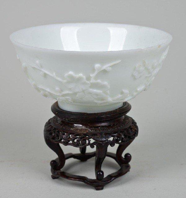 2013: Antique monochrome white Peking glass bowl