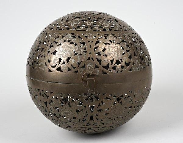 2014: Antique Chinese pierced brass ball gimbaled oil l