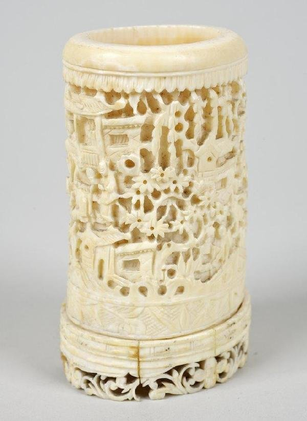 2015: Antique Chinese carved ivory brush pot