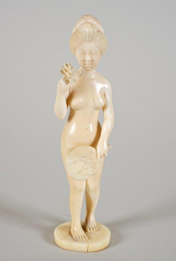 2017: Artist signed carved ivory okimono of a naked gei