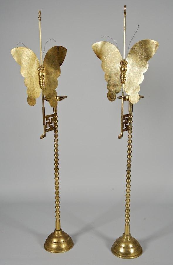 2022: Pair antique Chinese brass floor standing pircket