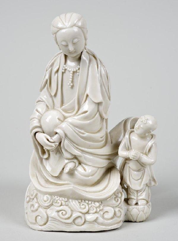 2023: Antique Chinese Dehua porcelain figure of Guanyin