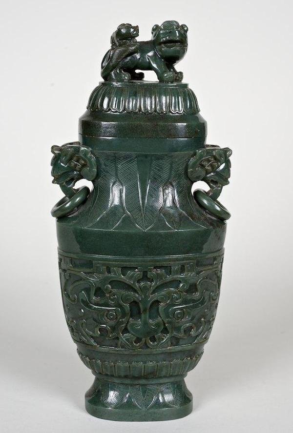 2062: Antique Chinese carved spinach jade jar and cover