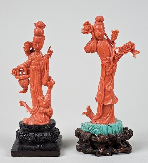 2069: (2) antique Chinese carved coral figures of Meire