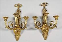 2150 Pair fine George III gilt bronze wall sconces