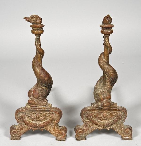 3001: Pair Renaissance style bronze dolphin andirons