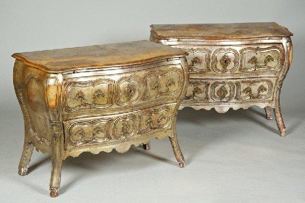 3003: Pair antique Italian Rococo style silvered bombe
